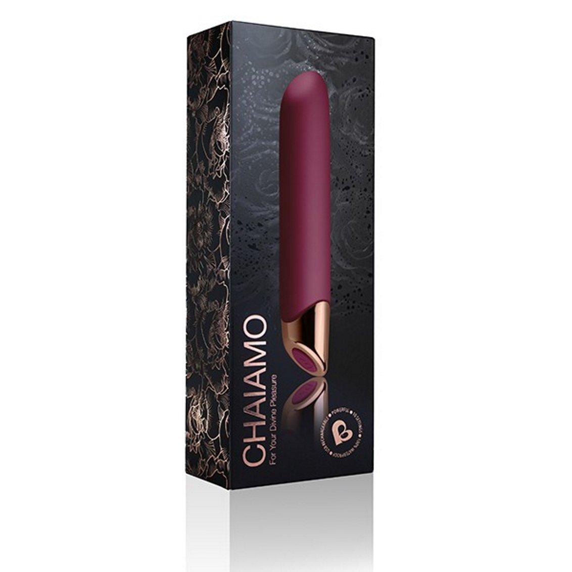 Chaiamo Rechargeable Silicone Vibrator - Black, Burgundy