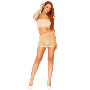 Nude Crystalized Fishnet Convertible Tube Dress