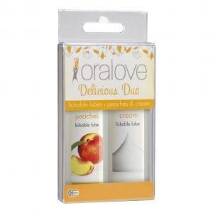 Oralove Dynamic Duo Lickable Lubes - Peaches & Cream