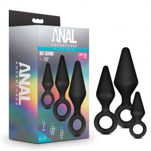 Anal Adventures Platinum - Silicone Loop Butt Plug Kit - 3 Sizes