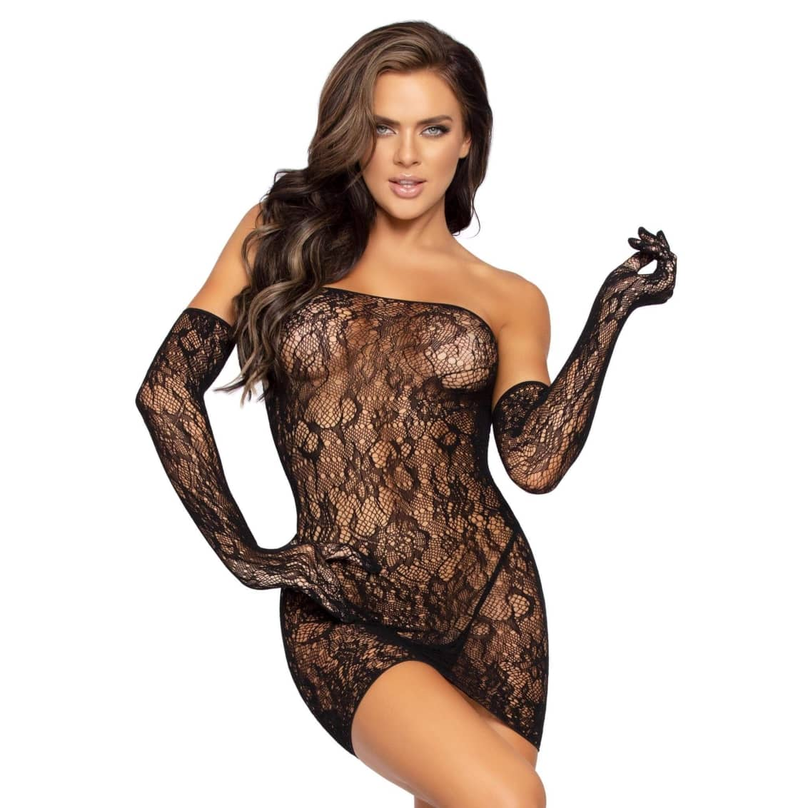 Dotted Lace Tube Dress And Gloves Set by Leg Avenue